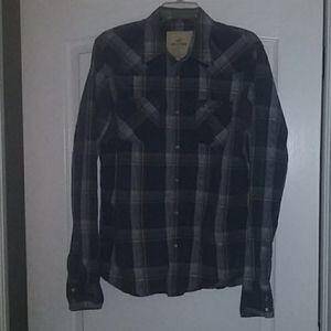 Hollister Pearl Snaps Western Plaid Men's Large L